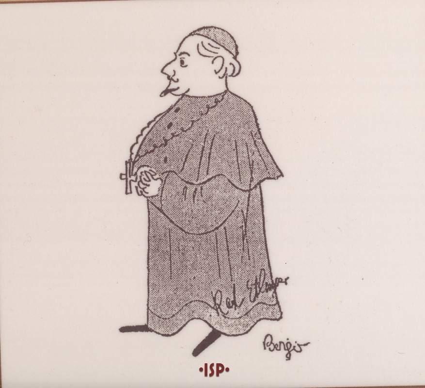 08 Caricatura di Karl Ettlinger nei panni di Dionisio Genoni Berlino 1925 1
