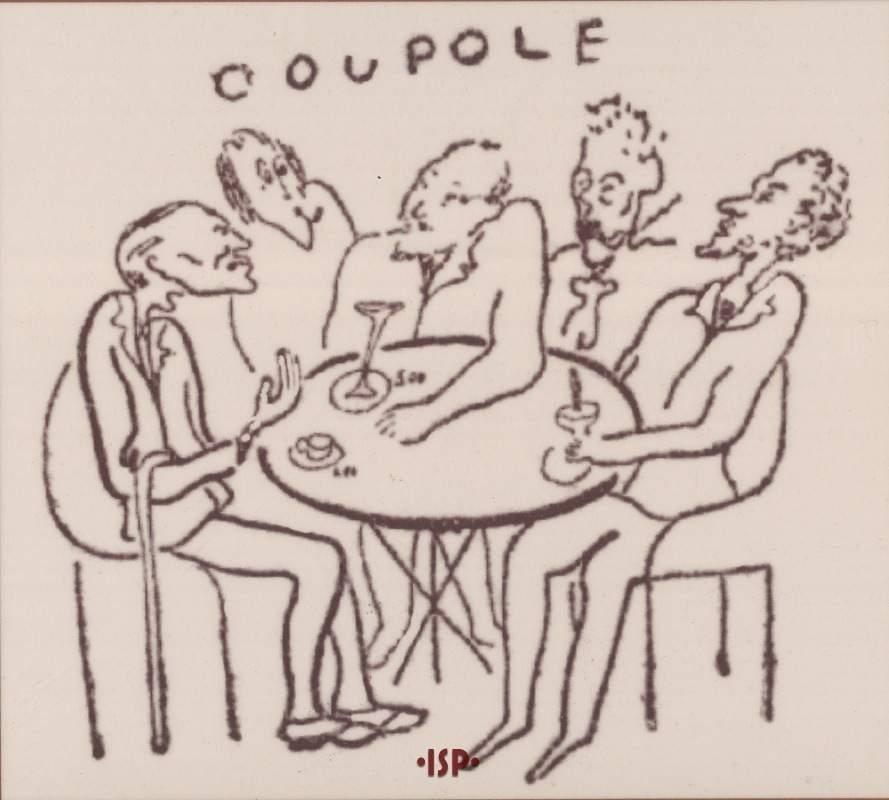 08 L Italia Letteraria 1932. Pirandello a Parigi mentre sorseggia una bibita a La Coupole. Mafai 1