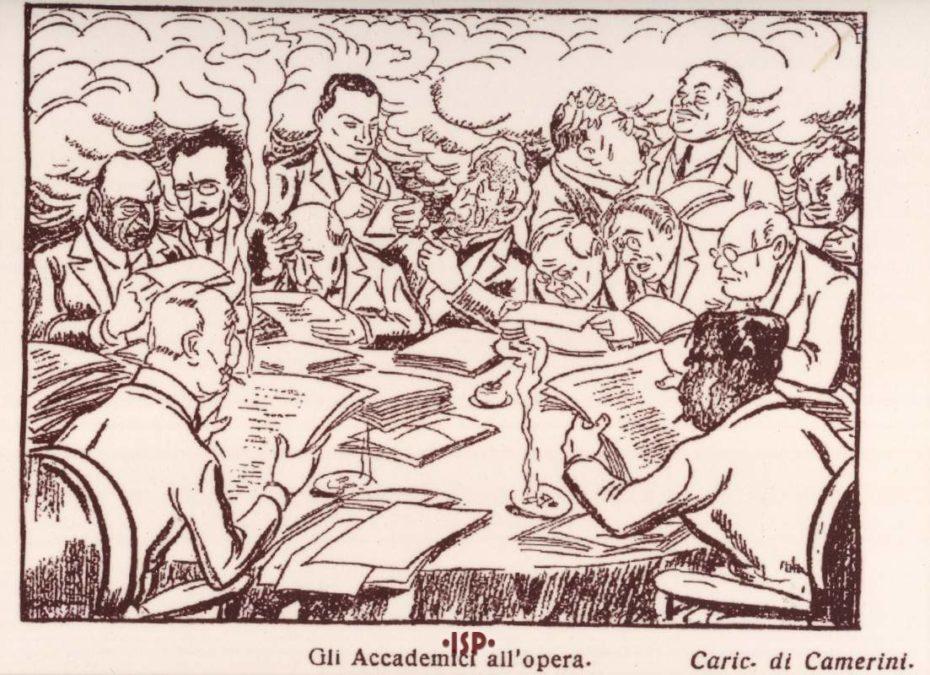 09 Almanacco Letterario 1925. Una seduta dell Accademia Mondadori per l elezione del Presidente Ferdinando Martini. Camerini 1