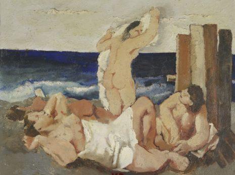 Bagnanti, olio su tavola,opera di Fausto Pirandello (1929)