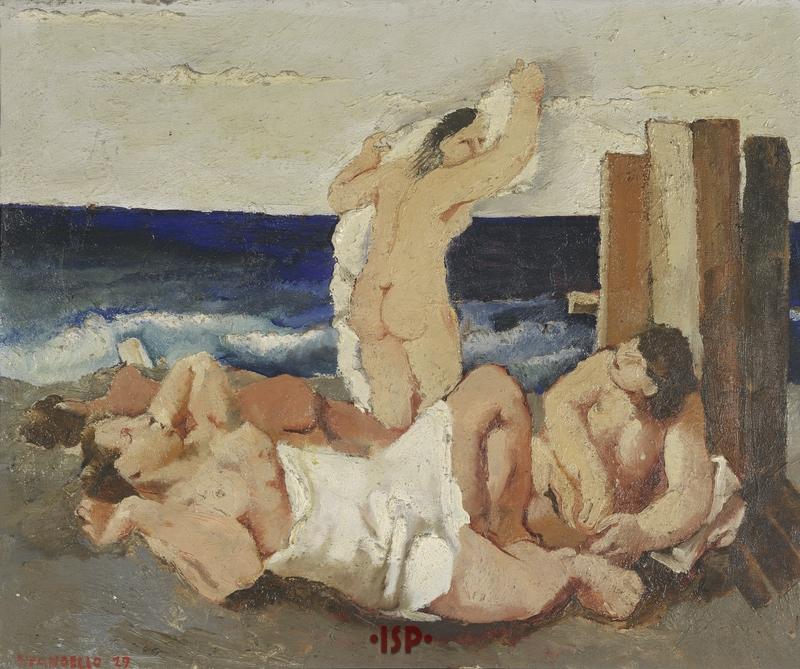 1 Bagnanti olio su tavolaopera di Fausto Pirandello 1929