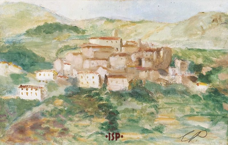 10 Paesaggio di Anticoli Corrado olio su legno opera di Luigi Pirandello settembre 1936