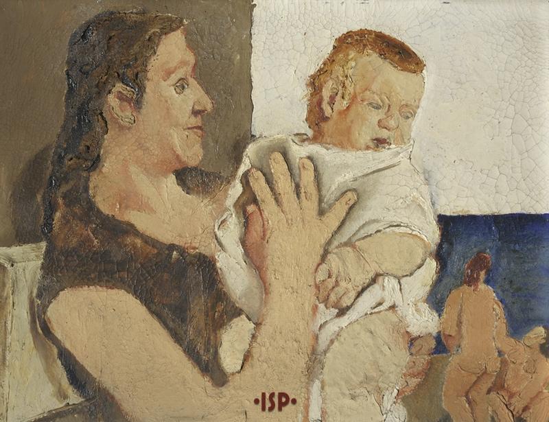 2 Donna e bambino olio su tavola oera di Fausto Pirandello 1929