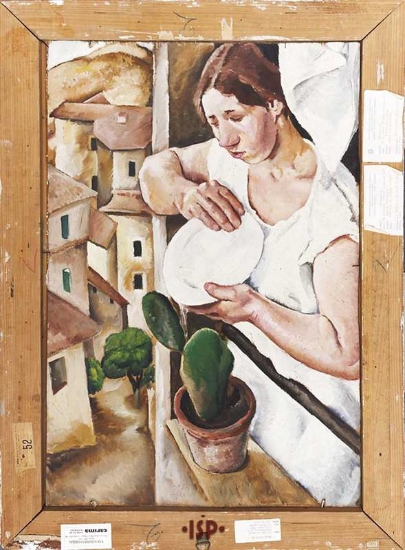 4 Donna con paesaggio olio su tavola sul retro di Ritratto di Lietta