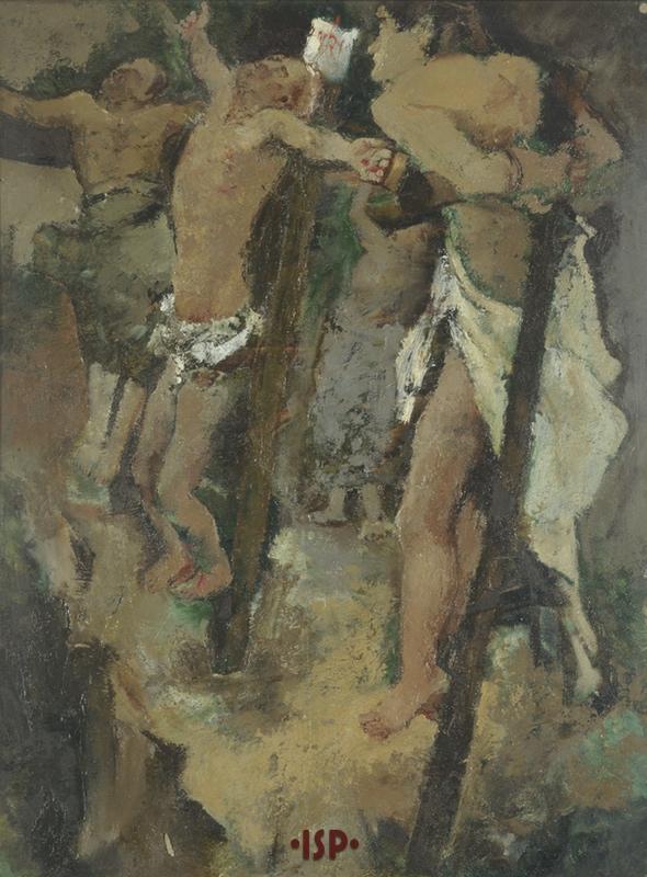 5 Crocefissione olio su tavola opera di Fausto Pirandello 1934 circa