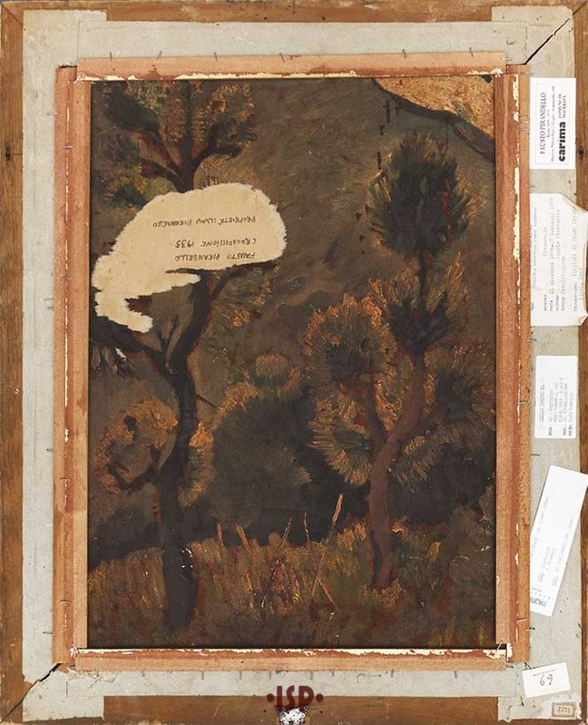 6 Paesaggio olio su tavola sul retro di Crocefissione
