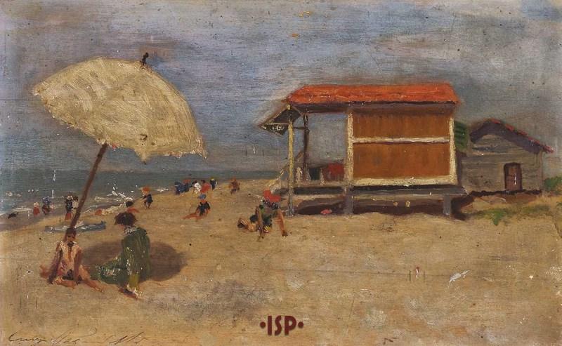 8 Marina di Viareggio olio su tavola opera di Luigi Pirandello.