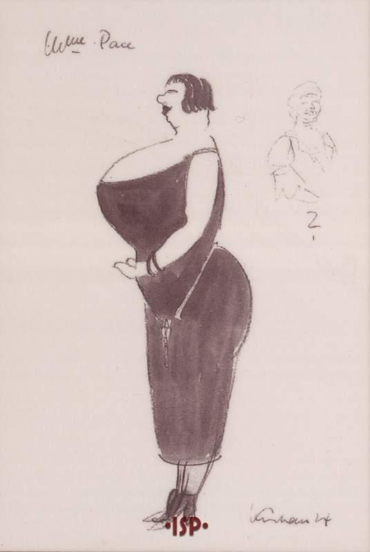 Giornale tedesco Berlino 1924 Madama Pace Caricatura di Hermann Krehan 1