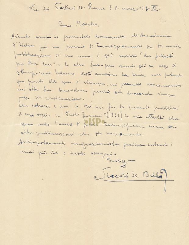 22 De Bellis 8 marzo 1934