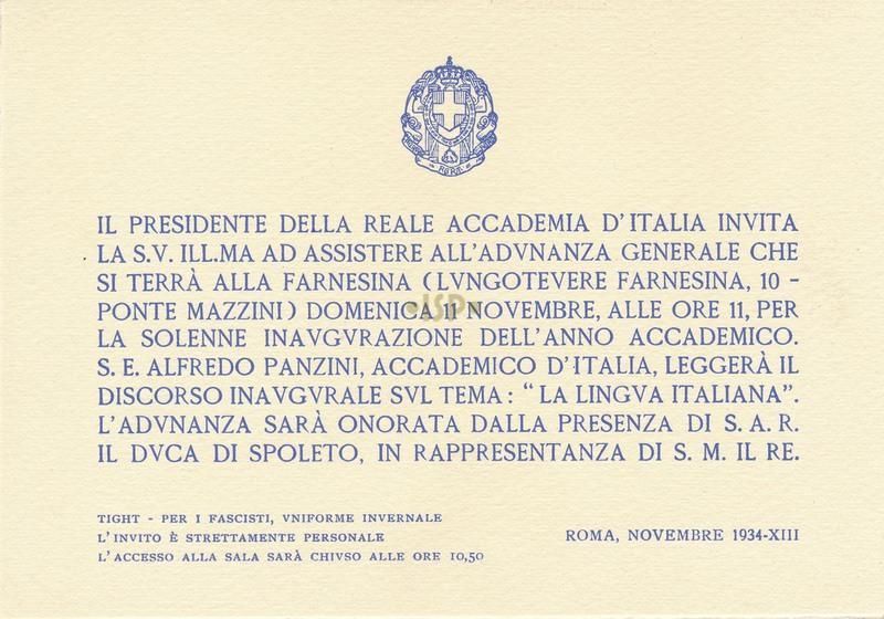 36 Invito Inaugurazione anno accademico 6 novembre 1934