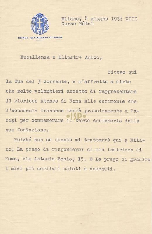 59 Risposta di Pirandello 8 giugno 1935