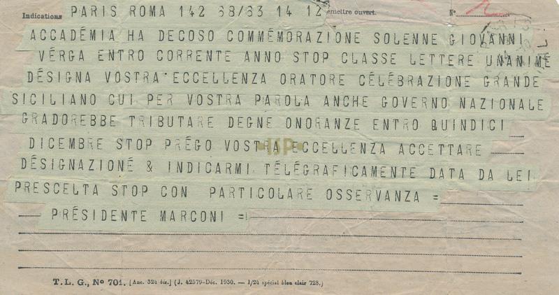78 Marconi telegramma ottobre 1931